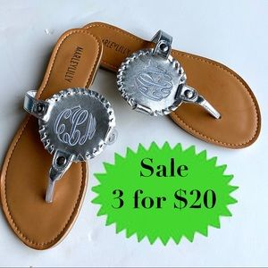 MARLEYLILLY silver sandals thongs slides monogram